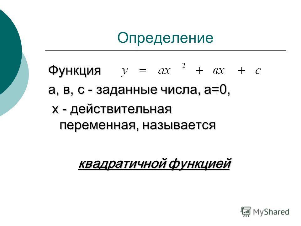 Определение Функция а, в, с - заданные числа, а=0, х - действительная переменная, называется х - действительная переменная, называется квадратичной функцией квадратичной функцией