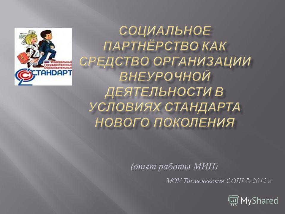 ( опыт работы МИП ) МОУ Тихменевская СОШ © 2012 г.