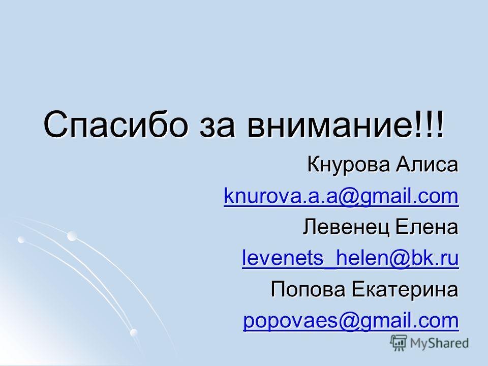 Спасибо за внимание!!! Кнурова Алиса knurova.a.a@gmail.com Левенец Елена levenets_helen@bk.ru Попова Екатерина popovaes@gmail.com