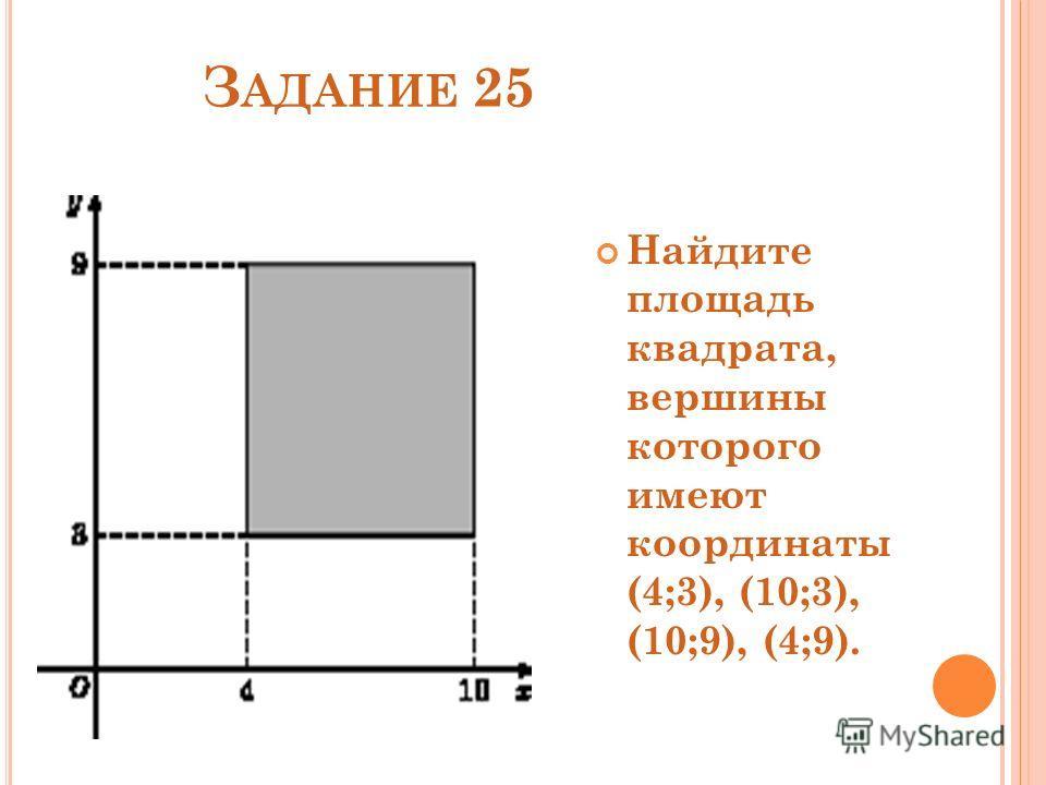 З АДАНИЕ 25 Найдите площадь квадрата, вершины которого имеют координаты (4;3), (10;3), (10;9), (4;9).