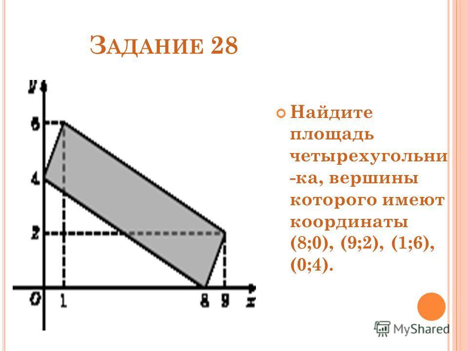 З АДАНИЕ 28 Найдите площадь четырехугольни -ка, вершины которого имеют координаты (8;0), (9;2), (1;6), (0;4).