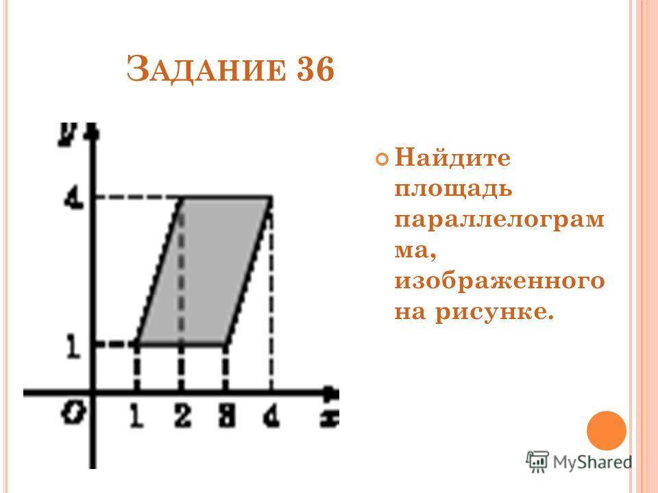 З АДАНИЕ 36 Найдите площадь параллелограм ма, изображенного на рисунке.
