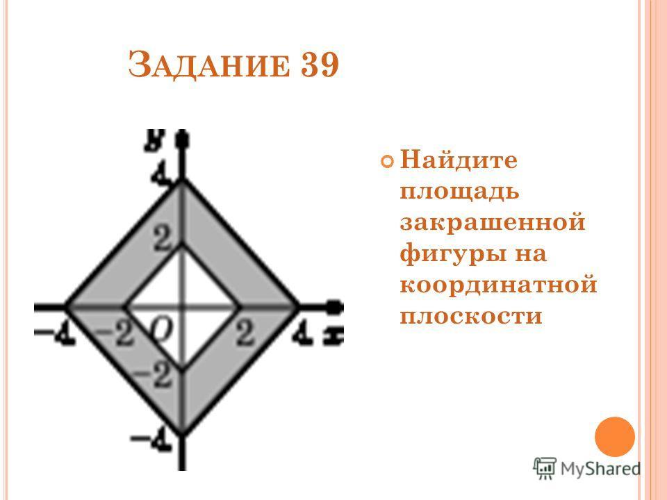 З АДАНИЕ 39 Найдите площадь закрашенной фигуры на координатной плоскости