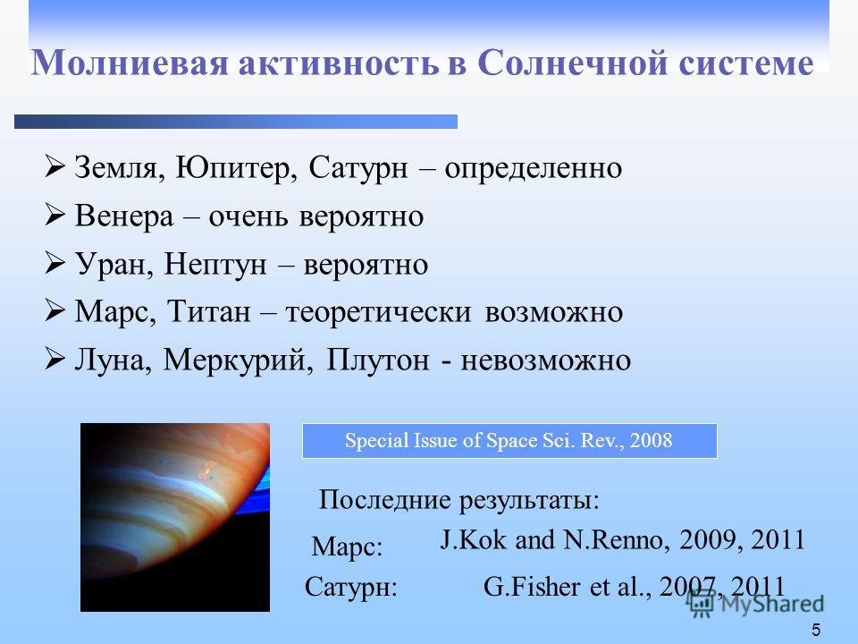 5 Молниевая активность в Солнечной системе Земля, Юпитер, Сатурн – определенно Венера – очень вероятно Уран, Нептун – вероятно Марс, Титан – теоретически возможно Луна, Меркурий, Плутон - невозможно G.Fisher et al., 2007, 2011Сатурн: J.Kok and N.Renn