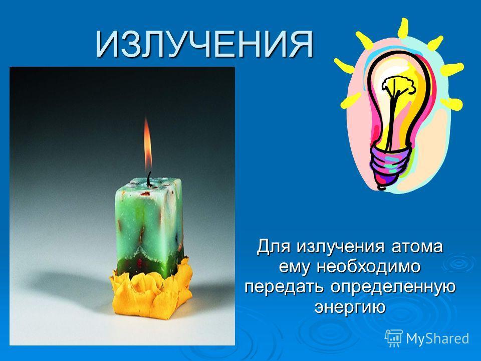 ИЗЛУЧЕНИЯ Для излучения атома ему необходимо передать определенную энергию