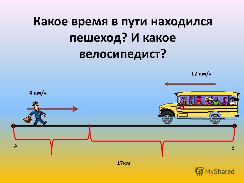 А В 4 км/ч 17км Какое время в пути находился пешеход? И какое велосипедист? 12 км/ч