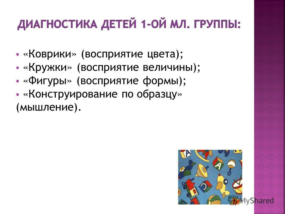 «Коврики» (восприятие цвета); «Кружки» (восприятие величины); «Фигуры» (восприятие формы); «Конструирование по образцу» (мышление).