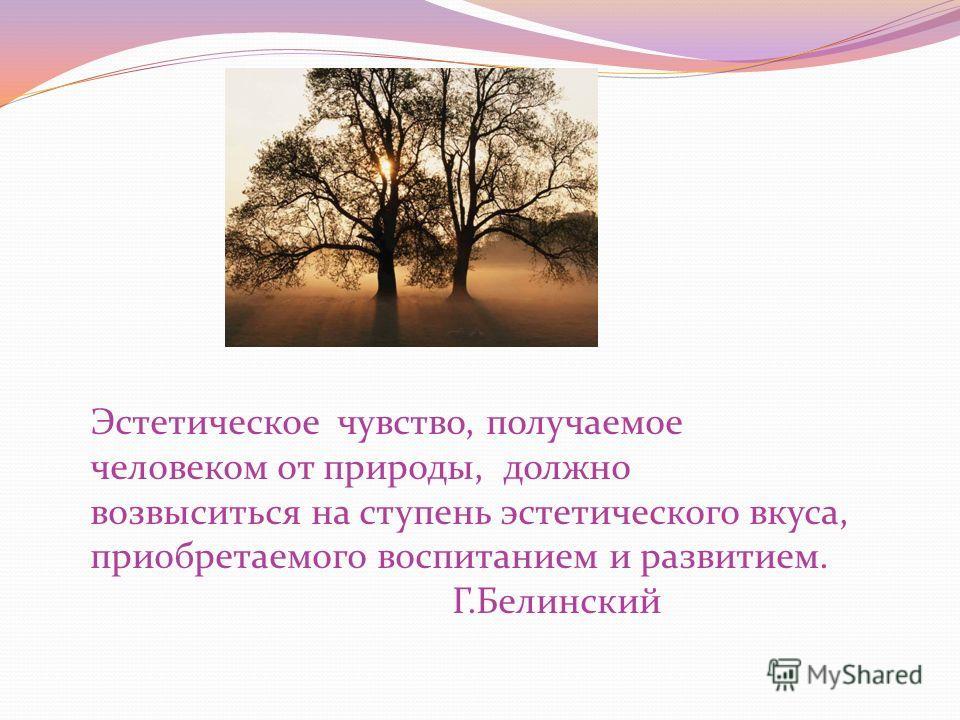 Эстетическое чувство, получаемое человеком от природы, должно возвыситься на ступень эстетического вкуса, приобретаемого воспитанием и развитием. Г.Белинский