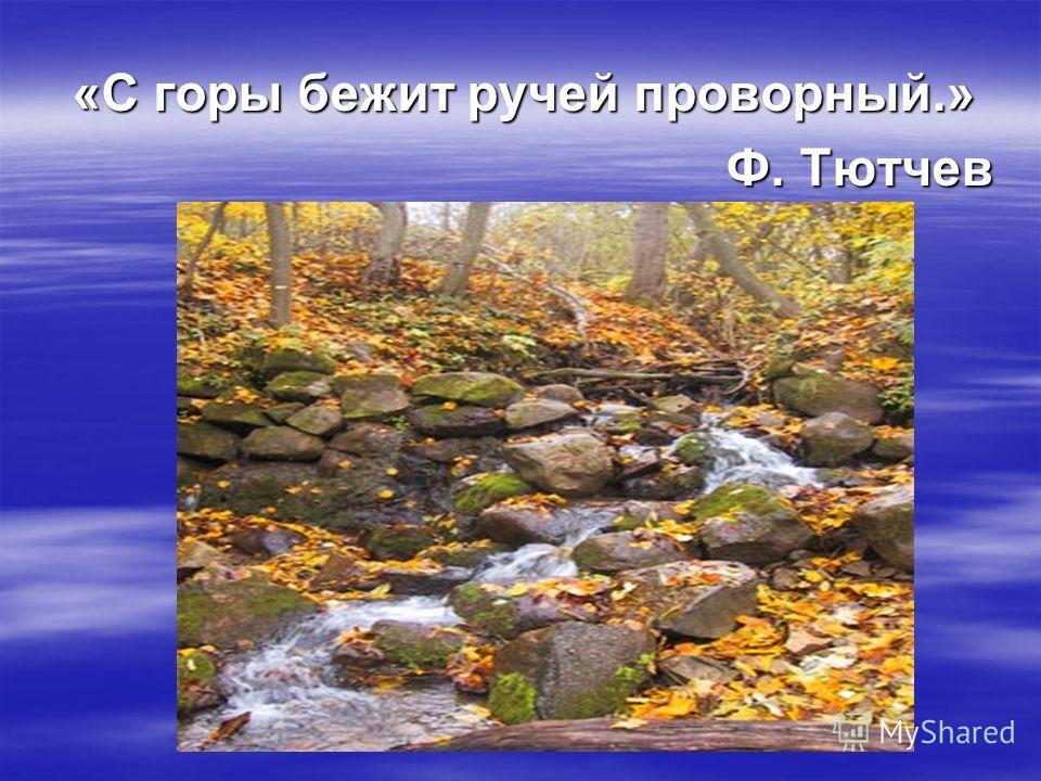 «С горы бежит ручей проворный.» Ф. Тютчев