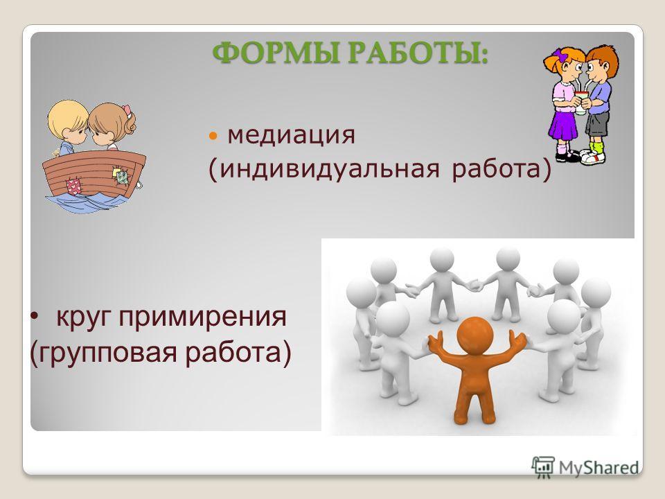 ФОРМЫ РАБОТЫ: медиация (индивидуальная работа) круг примирения (групповая работа)