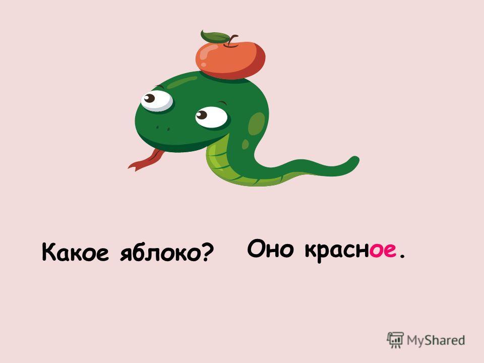 Какое яблоко? Оно красное.