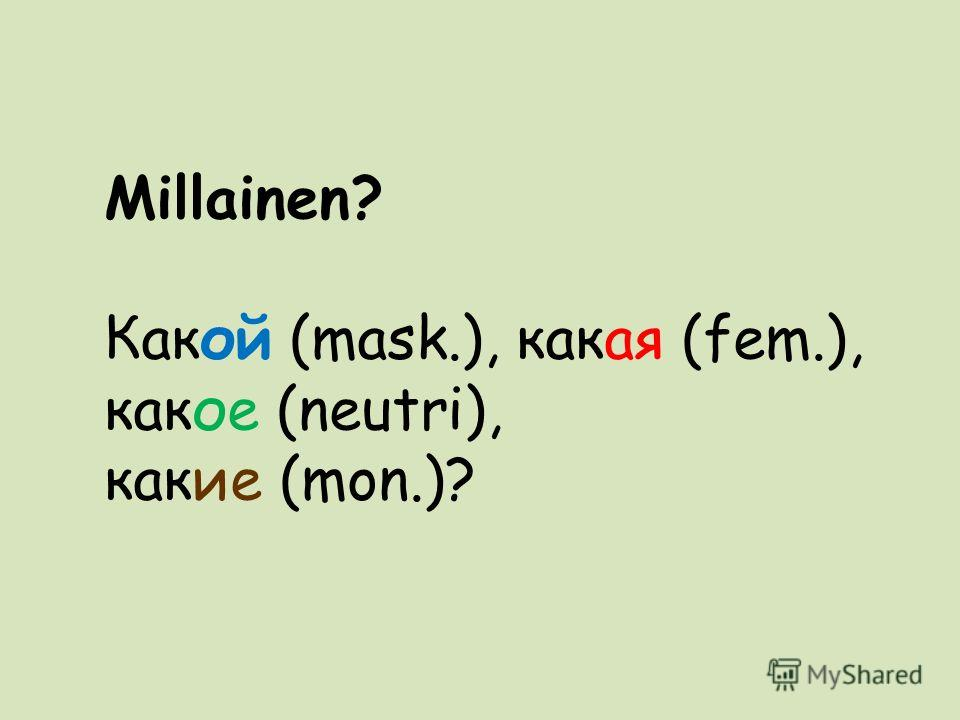 Millainen? Какой (mask.), какая (fem.), какое (neutri), какие (mon.)?