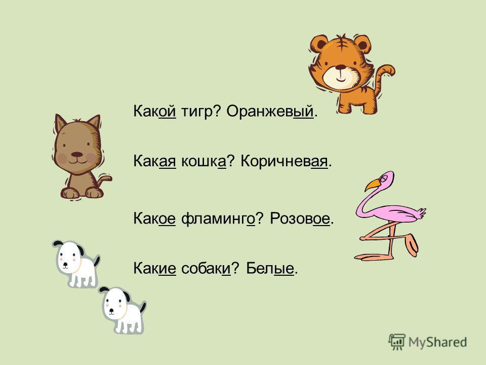 Какой тигр? Оранжевый. Какая кошка? Коричневая. Какое фламинго? Розовое. Какие собаки? Белые.