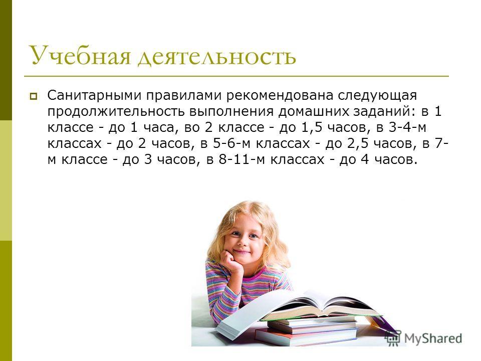 Учебная деятельность Санитарными правилами рекомендована следующая продолжительность выполнения домашних заданий: в 1 классе - до 1 часа, во 2 классе - до 1,5 часов, в 3-4-м классах - до 2 часов, в 5-6-м классах - до 2,5 часов, в 7- м классе - до 3 ч