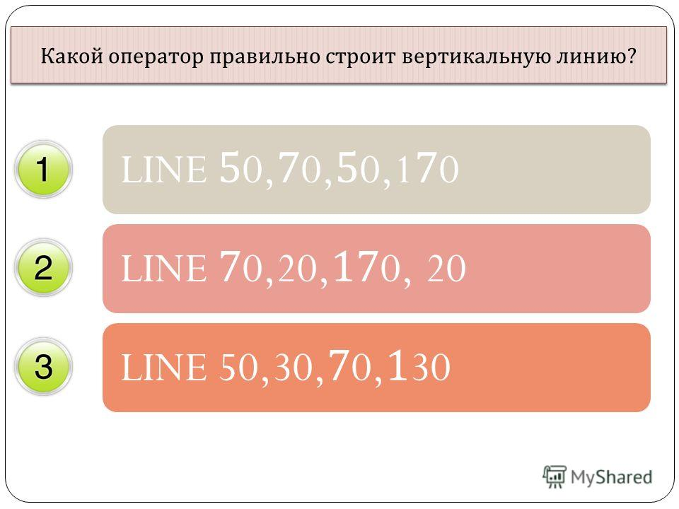 Какой оператор правильно строит вертикальную линию ? LINE 50,70,50,170LINE 70,20,170, 20LINE 50,30,70,130