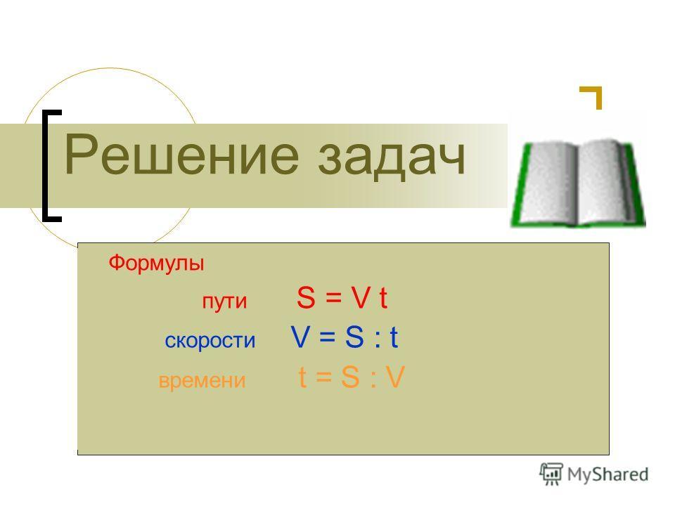 Формулы пути S = V t скорости V = S : t времени t = S : V