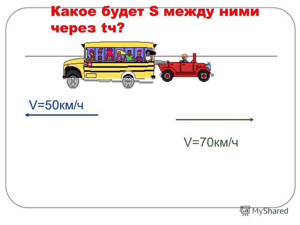 Какое будет S между ними через tч? V=50км/ч V=70км/ч