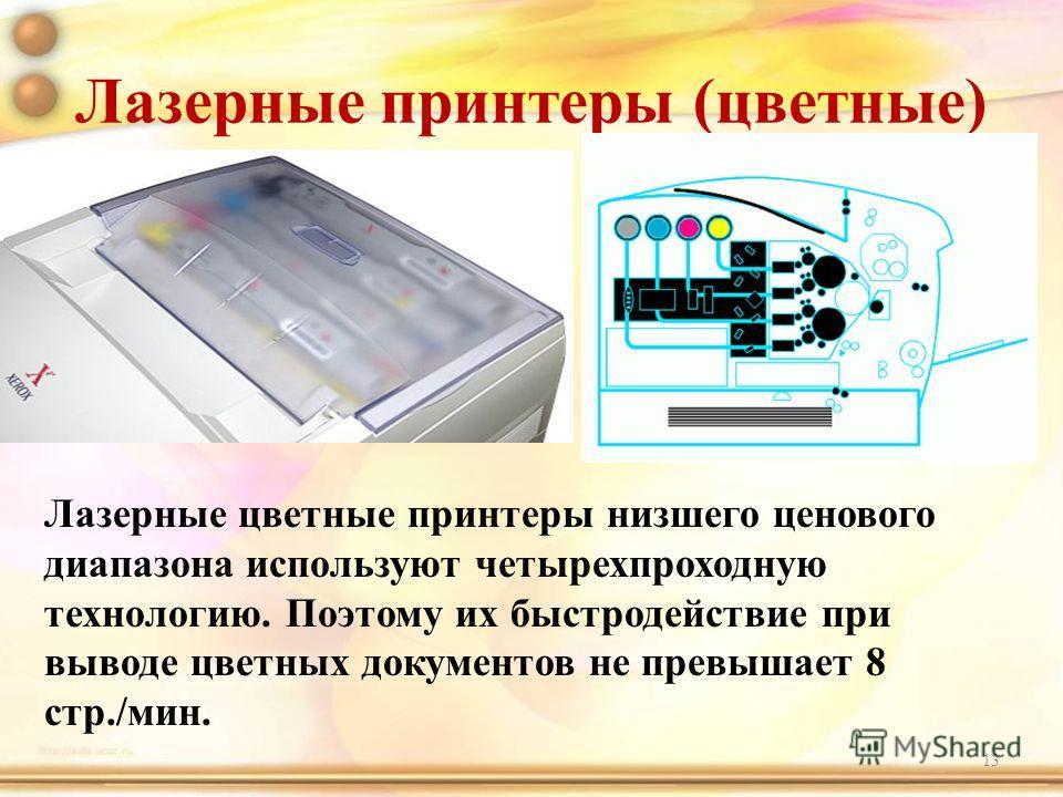 Лазерные принтеры (цветные) 13 Лазерные цветные принтеры низшего ценового диапазона используют четырехпроходную технологию. Поэтому их быстродействие при выводе цветных документов не превышает 8 стр./мин.