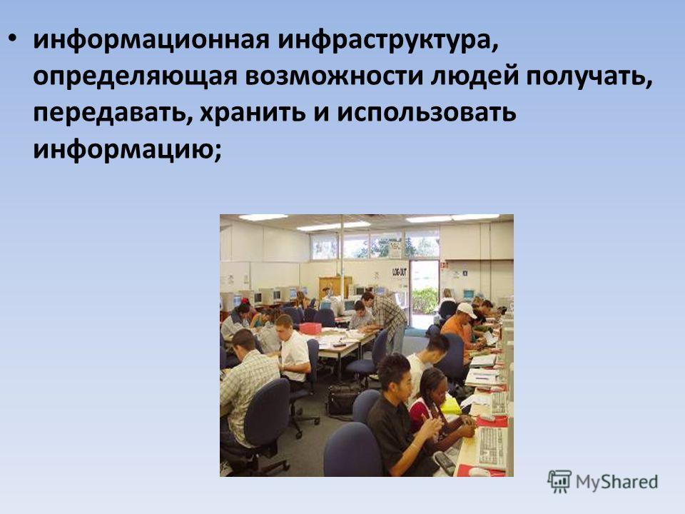 информационная инфраструктура, определяющая возможности людей получать, передавать, хранить и использовать информацию;
