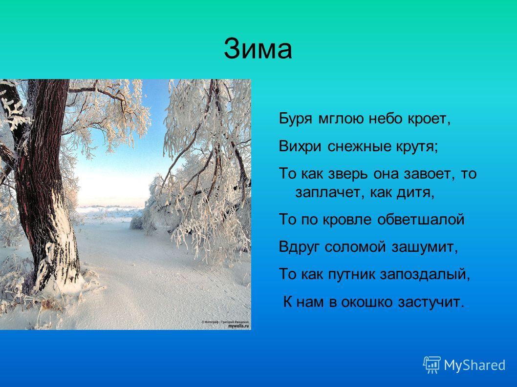 Зима Буря мглою небо кроет, Вихри снежные крутя; То как зверь она завоет, то заплачет, как дитя, То по кровле обветшалой Вдруг соломой зашумит, То как путник запоздалый, К нам в окошко застучит.