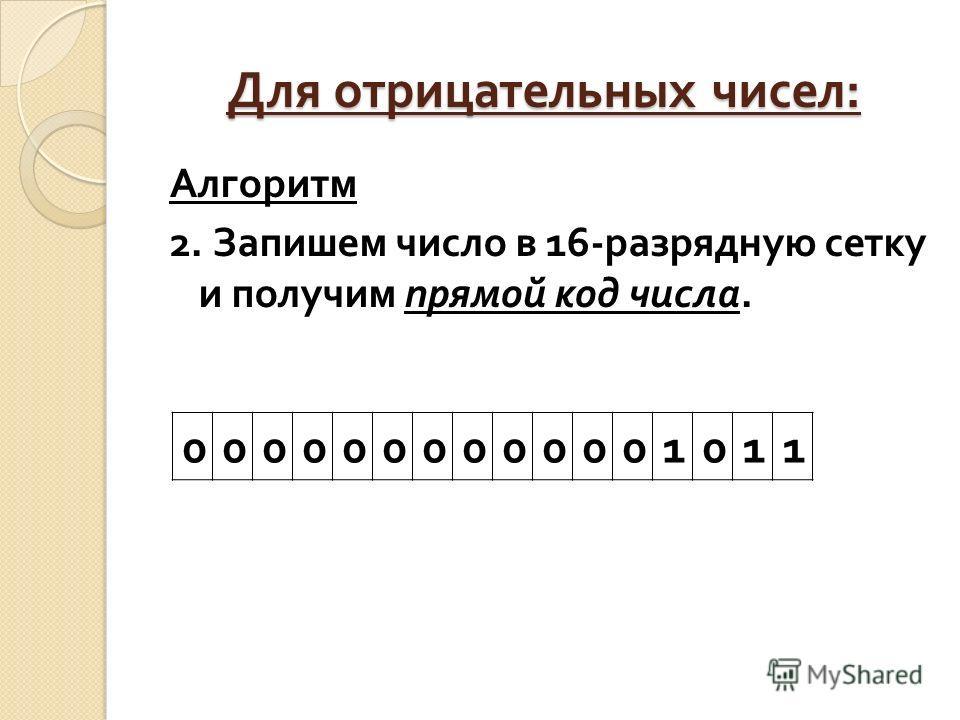 Для отрицательных чисел : Алгоритм 2. Запишем число в 16- разрядную сетку и получим прямой код числа. 0000000000001011