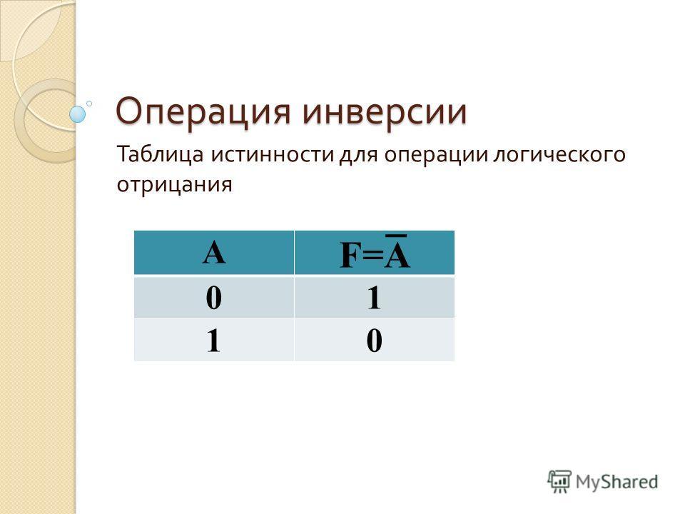 Операция инверсии Таблица истинности для операции логического отрицания A F=A 01 10