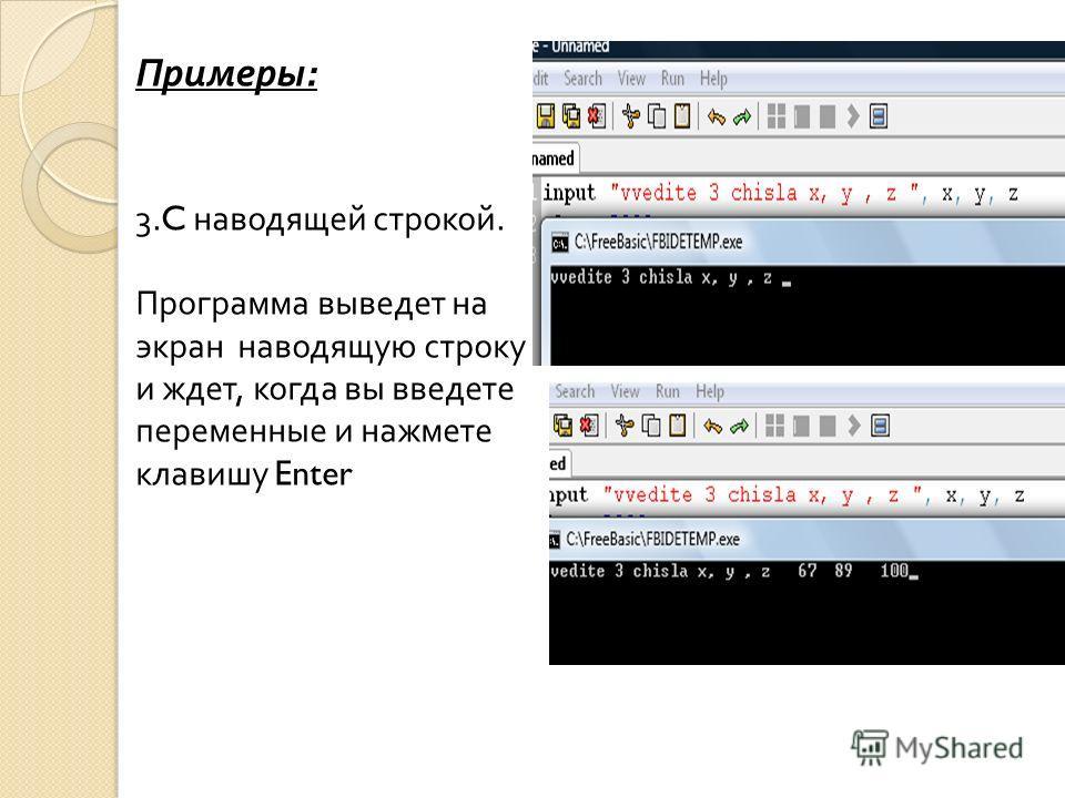 Примеры : 3.C наводящей строкой. Программа выведет на экран наводящую строку и ждет, когда вы введете переменные и нажмете клавишу Enter