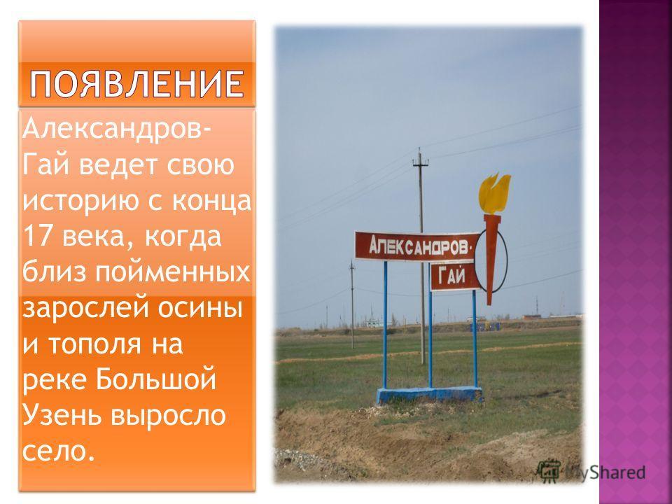 Александров- Гай ведет свою историю с конца 17 века, когда близ пойменных зарослей осины и тополя на реке Большой Узень выросло село.
