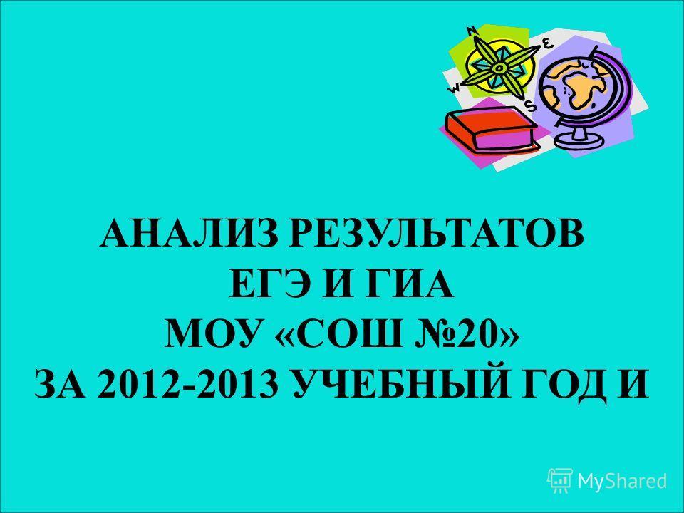 АНАЛИЗ РЕЗУЛЬТАТОВ ЕГЭ И ГИА МОУ «СОШ 20» ЗА 2012-2013 УЧЕБНЫЙ ГОД И