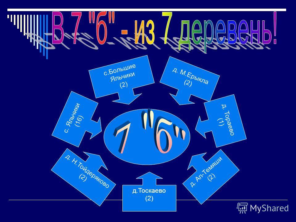 с.Большие Яльчики (2) д. Тораево (1) д. М.Ерыкла (2) с. Яльчики (16) д.Тоскаево (2) д. Н.Тойдеряково (2) д. Ап-Темяши (2)