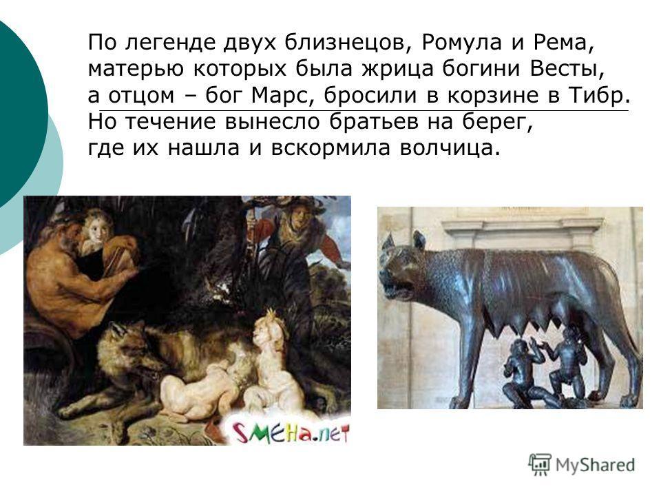 По легенде двух близнецов, Ромула и Рема, матерью которых была жрица богини Весты, а отцом – бог Марс, бросили в корзине в Тибр. Но течение вынесло братьев на берег, где их нашла и вскормила волчица.