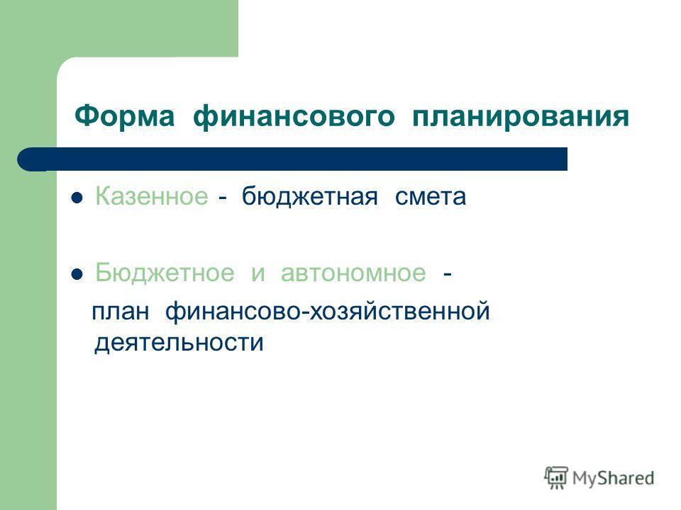 Форма финансового планирования Казенное - бюджетная смета Бюджетное и автономное - план финансово-хозяйственной деятельности