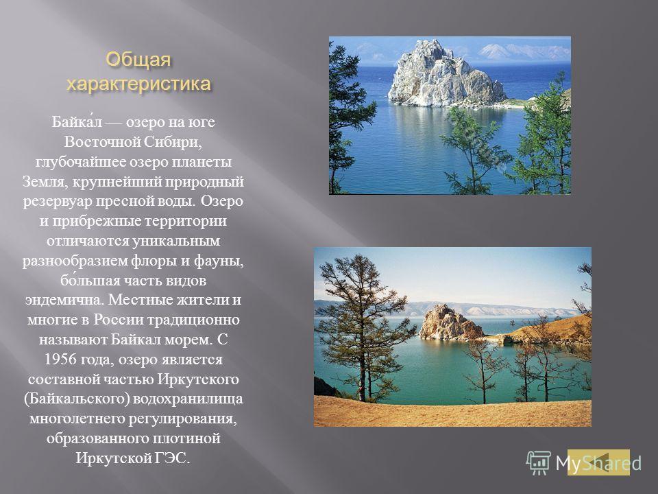 Общая характеристика Байка́л озеро на юге Восточной Сибири, глубочайшее озеро планеты Земля, крупнейший природный резервуар пресной воды. Озеро и прибрежные территории отличаются уникальным разнообразием флоры и фауны, бо́льшая часть видов эндемична.