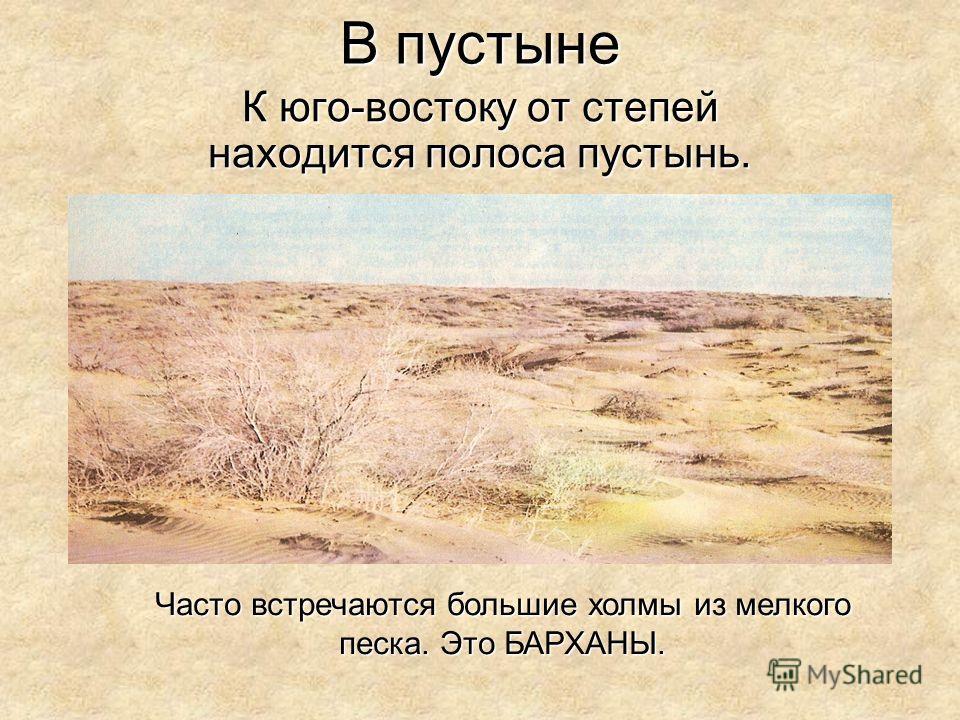 В пустыне К юго-востоку от степей находится полоса пустынь. Часто встречаются большие холмы из мелкого песка. Это БАРХАНЫ.