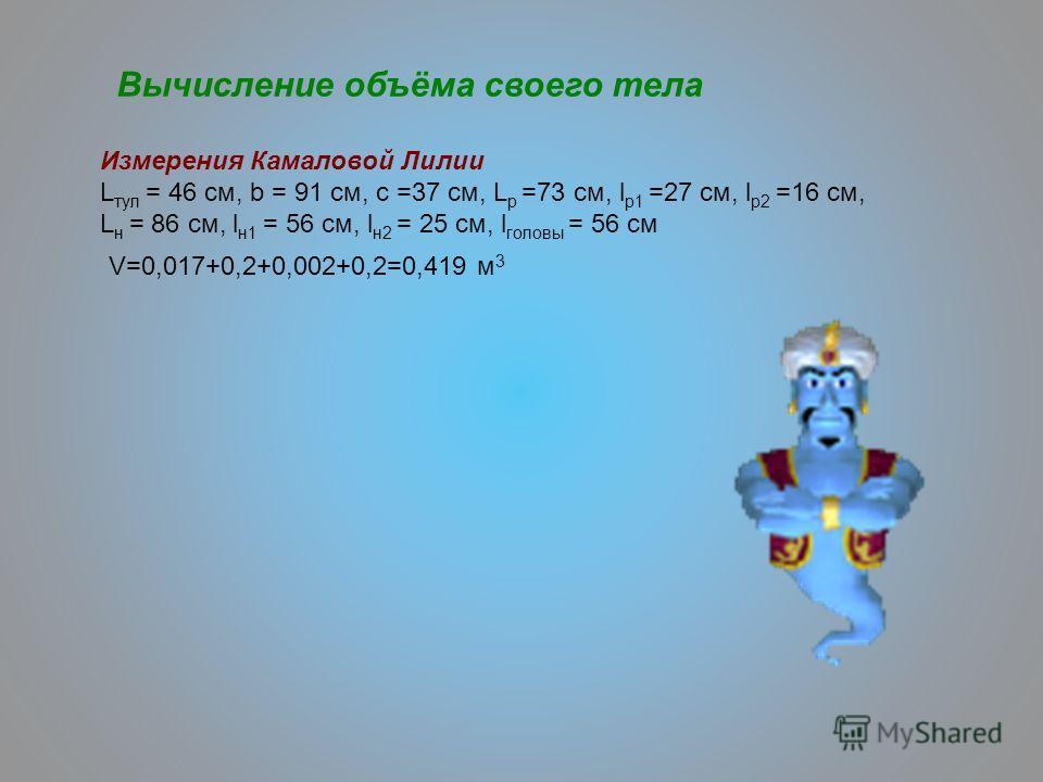 Измерения Камаловой Лилии L тул = 46 см, b = 91 см, c =37 см, L p =73 см, l p1 =27 см, l p2 =16 см, L н = 86 см, l н1 = 56 см, l н2 = 25 см, l головы = 56 см V=0,017+0,2+0,002+0,2=0,419 м 3 Вычисление объёма своего тела
