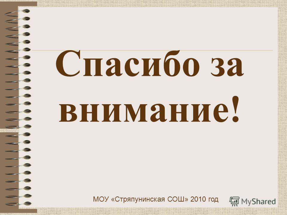 Спасибо за внимание! МОУ «Стряпунинская СОШ» 2010 год