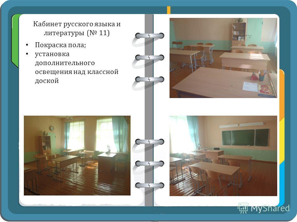 Кабинет русского языка и литературы ( 11) Покраска пола; установка дополнительного освещения над классной доской