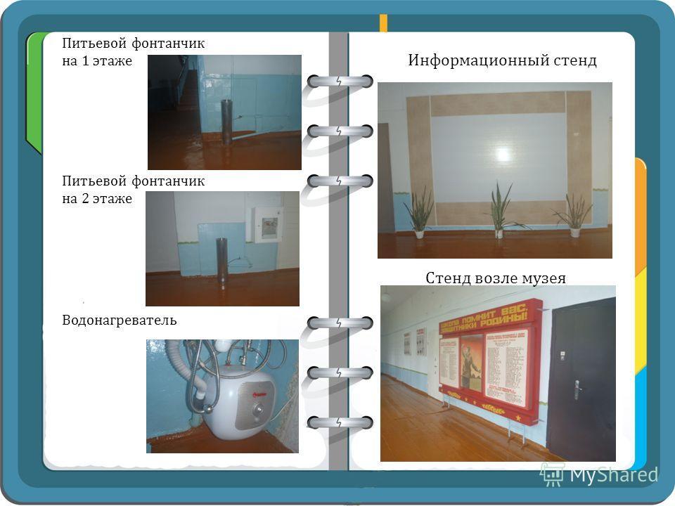 Питьевой фонтанчик на 1 этаже Питьевой фонтанчик на 2 этаже Информационный стенд Стенд возле музея Водонагреватель