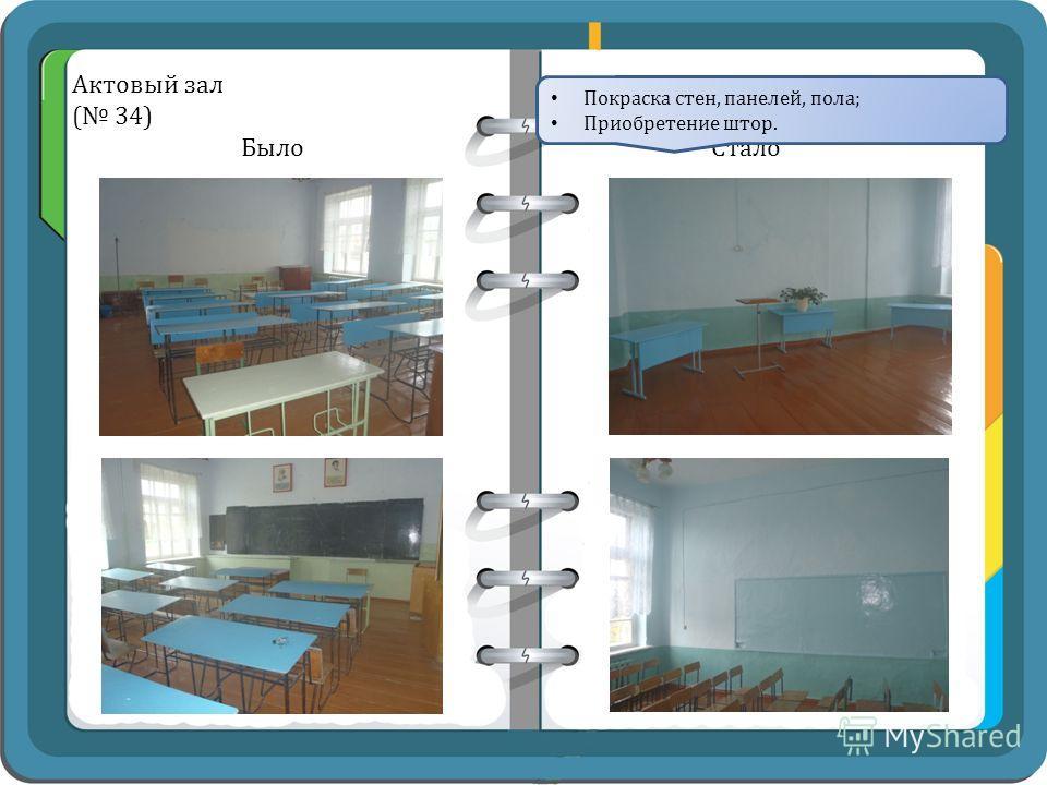 Актовый зал ( 34) Было Стало Покраска стен, панелей, пола; Приобретение штор.
