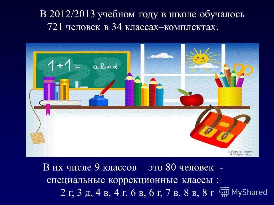 В 2012/2013 учебном году в школе обучалось 721 человек в 34 классах–комплектах. В их числе 9 классов – это 80 человек - специальные коррекционные классы : 2 г, 3 д, 4 в, 4 г, 6 в, 6 г, 7 в, 8 в, 8 г