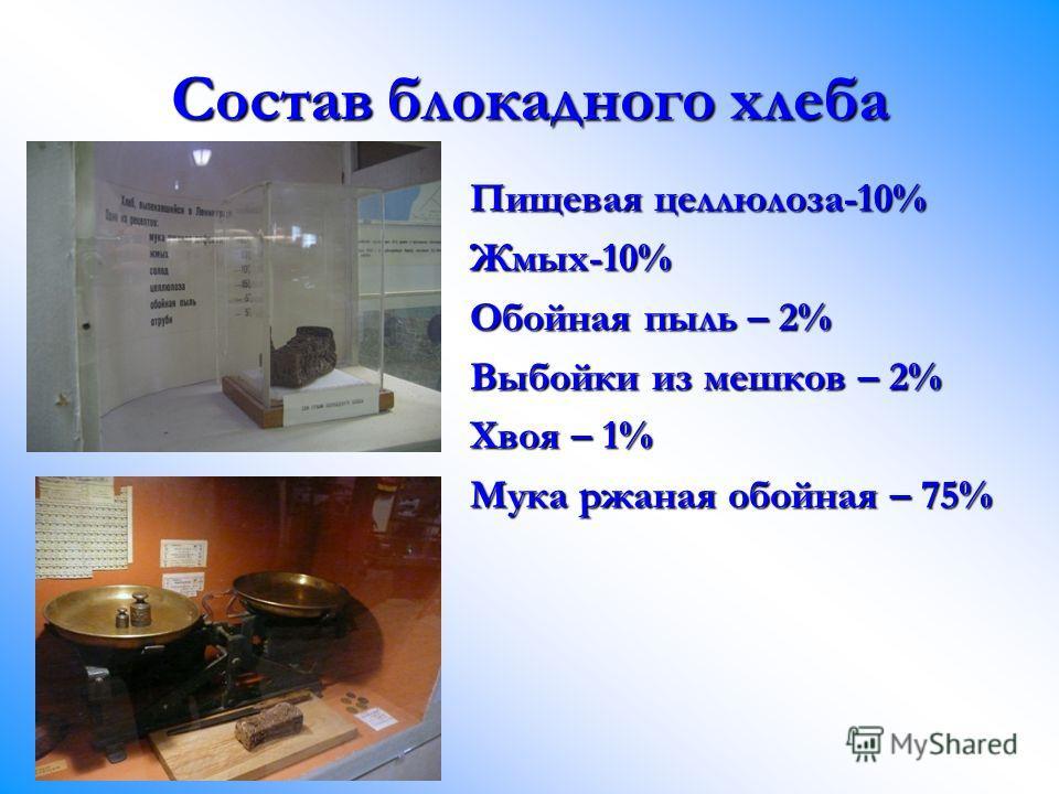 Состав блокадного хлеба Пищевая целлюлоза-10% Жмых-10% Обойная пыль – 2% Выбойки из мешков – 2% Хвоя – 1% Мука ржаная обойная – 75%