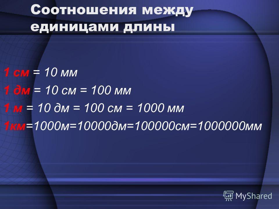 Соотношения между единицами длины 1 см = 10 мм 1 дм = 10 см = 100 мм 1 м = 10 дм = 100 см = 1000 мм 1км=1000м=10000дм=100000см=1000000мм