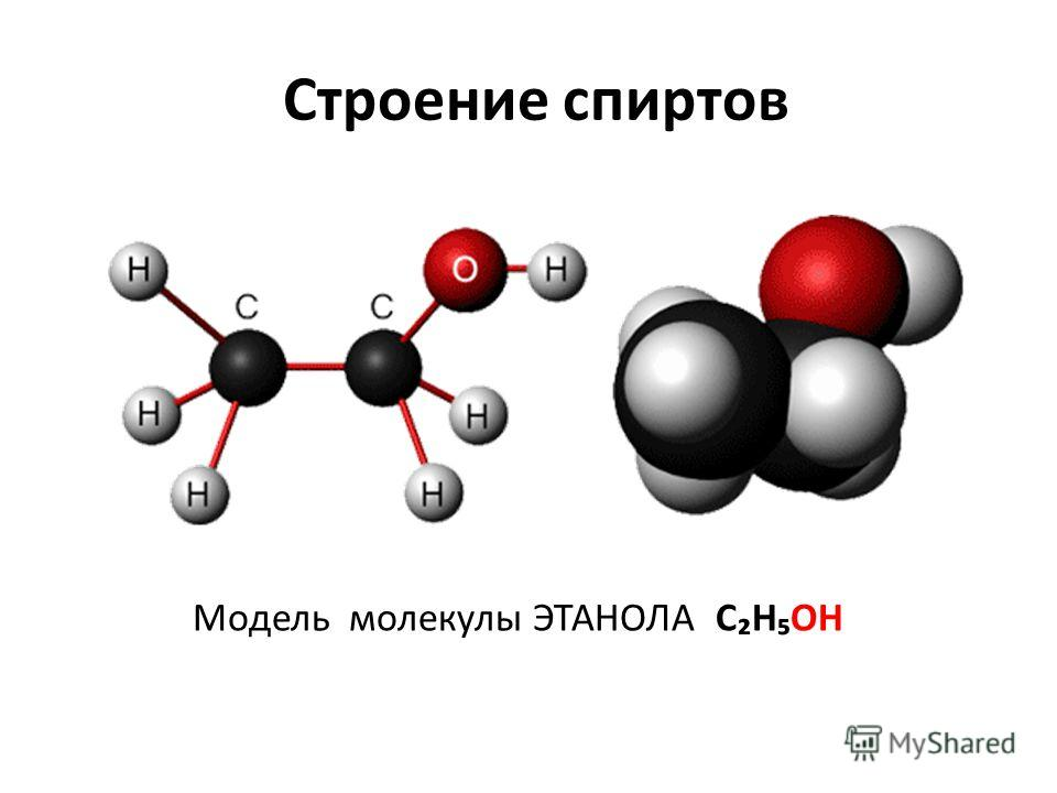 Строение спиртов Модель молекулы ЭТАНОЛА СНОН