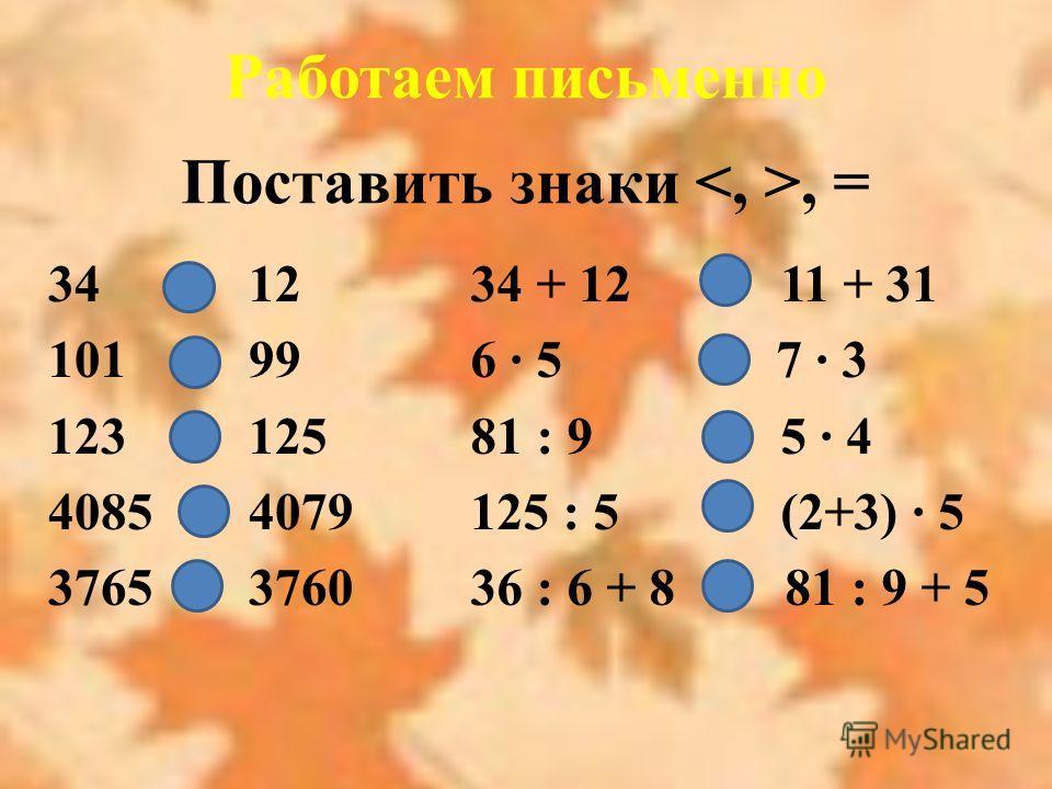 Работаем письменно Поставить знаки, = 34 > 12 101 > 99 123 < 125 4085 > 4079 3765 > 3760 34 + 12 < 11 + 31 6 · 5 > 7 · 3 81 : 9 < 5 · 4 125 : 5 = (2+3) · 5 36 : 6 + 8 = 81 : 9 + 5