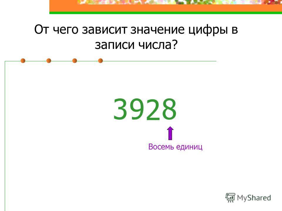 От чего зависит значение цифры в записи числа? 38 Восемь единиц 2 9
