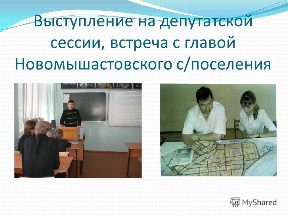 Выступление на депутатской сессии, встреча с главой Новомышастовского с/поселения