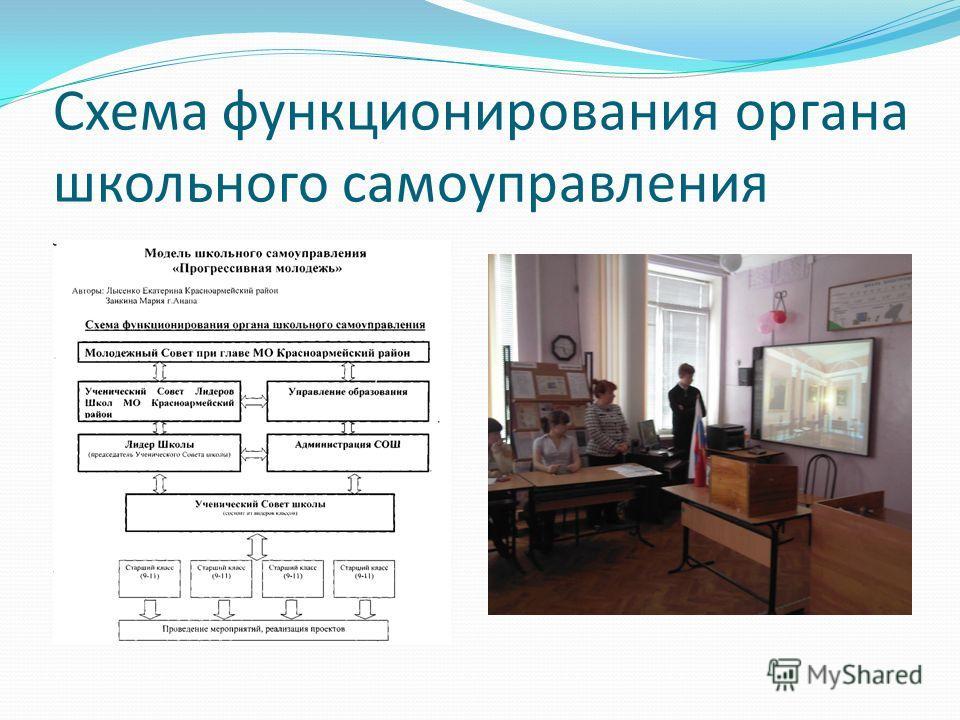 Схема функционирования органа школьного самоуправления