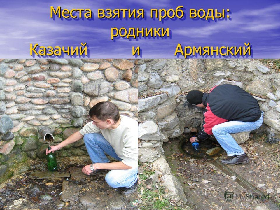 Места взятия проб воды: родники Казачий и Армянский