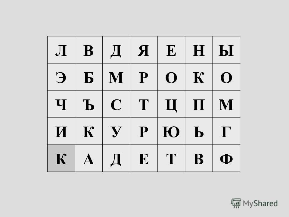 ЛВДЯЕНЫ ЭБМРОКО ЧЪСТЦПМ ИКУРЮЬГ КАДЕТВФ