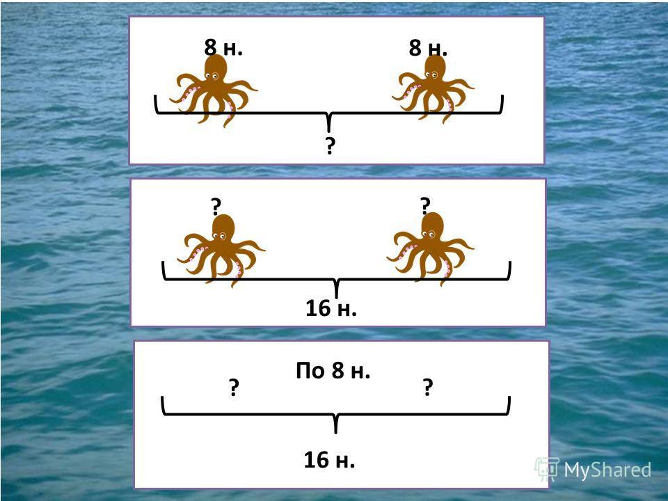 Пираты поймали 2 осьминога. У каждого осьминога по 8 ног.
